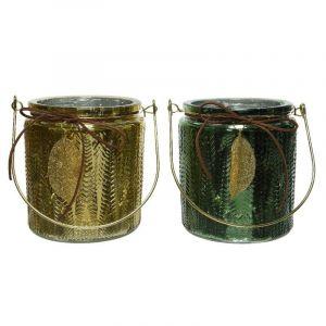 Photophore en verre avec feuille d'or - 12 x 14 cm - Couleur Vert