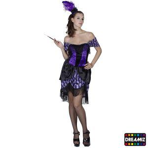 Déguisement Soirée Cabaret Violet Rita Saloon-XL