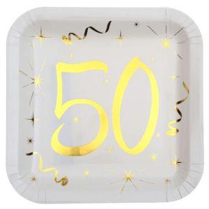 10 Assiettes en Carton Anniversaire - Blanc et Or - 50 ans