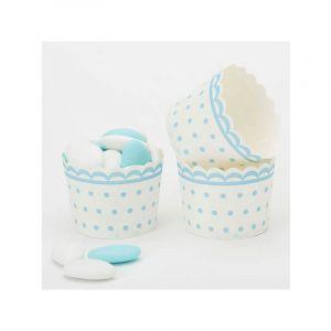 20 caissettes à Cupcakes à pois - Blanc et Bleu