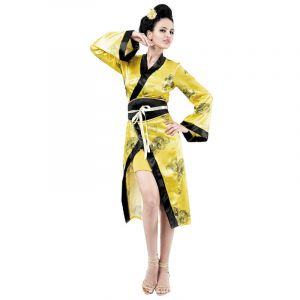 Robe Chinoise Jaune Femme - Taille Unique
