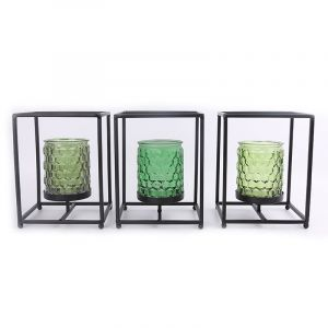 Décoration - Photophore en métal noir et pot en verre - Tropical Vibes – Vert Foncé