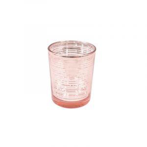 Photophore en verre à rayures - Rose Gold - 6,8 cm
