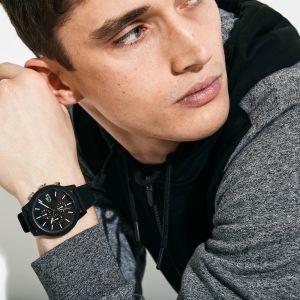 Montre homme Lacoste.12.12 Chronographe avec bracelet en silicone noir Taille Taille unique Noir