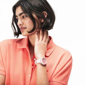 Montre femme Lacoste.12.12 avec bracelet petit piqué silicone rose Taille Taille unique Rose
