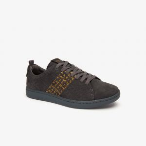 Sneakers Carnaby Evo femme en cuir avec marquage Lacoste Taille 42 Dk Gry/gld