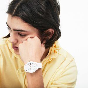 Montre femme Lacoste.12.12 avec bracelet petit piqué silicone blanc Taille Taille unique Blanc