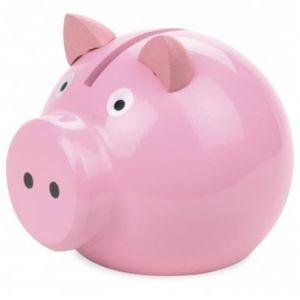 Tirelire en bois cochon rose