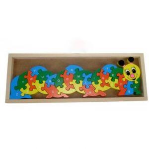 Puzzle en bois chenille alphabet et chiffre