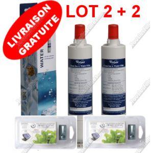 Lot de 2 filtres à eau SBS002 / SBS001 et 2 filtres anti-bactérien WHIRLPOOL