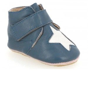 EASY PEASY Chaussons en Cuir Kiny Etoile Patin - Jean 20-21