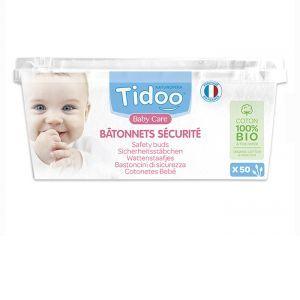 TIDOO Bâtonnets Sécurité en Coton Bio - 50 Unités
