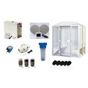 Cabine de hammam PRO 6 places complète 190 x 190 x 225 cm en acrylique + porte et vitres pret à monter desineo