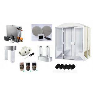 Cabine de hammam PRO 6 places PRENIUM complète 190 x 190 x 225 cm en acrylique + porte et vitres pret à monter desineo