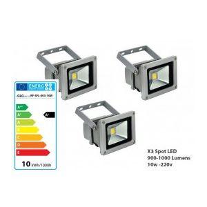 Lot de 3 Projecteurs Led Blanc 10w IP65