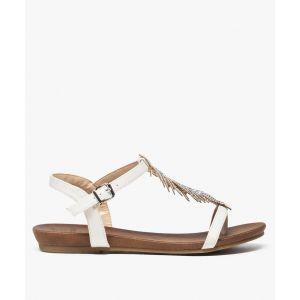 Sandales femme avec feuille en strass et petit talon compensé Femme - Couleur Femme - Taille Blanc