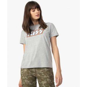 Tee-shirt femme chiné imprimé - Kiss Femme - Couleur Femme - Taille Gris
