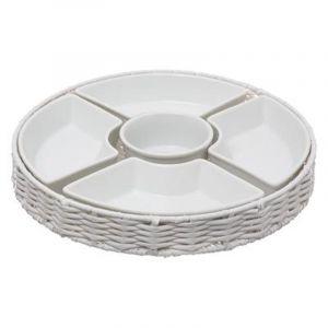 """Set 5 pièces Porcelaine """"Panier"""" 28cm Blanc - Paris Prix"""