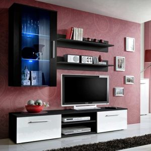 """Meuble TV Mural Design """"""""Galino V Black"""""""" Blanc & Noir"""""""