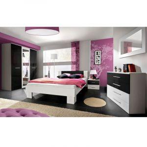 """Chambre Complète Adulte 6P """"Vicky"""" 180x200cm Blanc & Noir"""