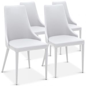 "Lot de 4 Chaises Design """"Ronald"""" 91cm Blanc - Paris Prix"""