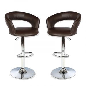 "Lot de 2 Tabourets de Bar ""Swan"" Chocolat - Paris Prix"