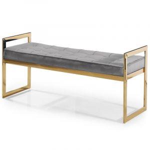 """Banquette Design en Velours """"Anouk"""" 120cm Gris - Paris Prix"""