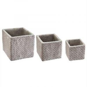"""Lot de 3 Cache-Pots Ciment """"Dolce"""" 14cm Violet - Paris Prix"""