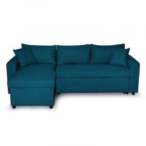 """Canapé d'Angle Réversible Convertible """"Geye"""" 225cm Bleu Pétrole"""