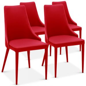 "Lot de 4 Chaises Design """"Ronald"""" 91cm Rouge - Paris Prix"""