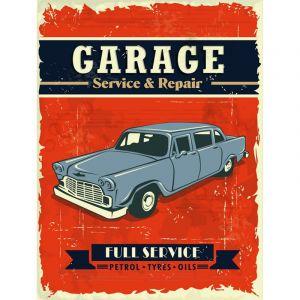 """Plaque en Métal Murale """"Garage"""" Rouge - Paris Prix"""