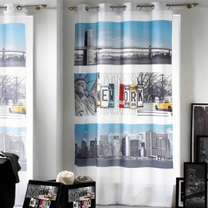 "Rideau 140x260cm """"New York Winter"""" Blanc - Paris Prix"""