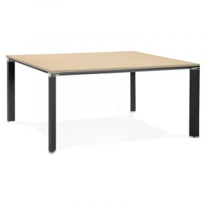 "Table de Bureau Carrée Design ""Loina"" 160cm Naturel - Paris Prix"