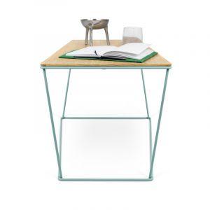 """TemaHome - Table d'Appoint Design """"Opal"""" 70cm Vert d'Eau & Chêne"""