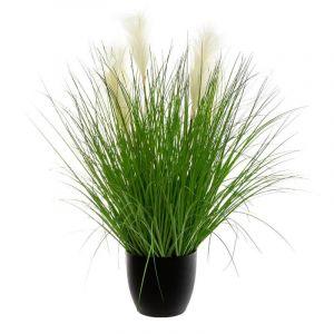 """Plante Artificielle en Pot """"Bouquet d'Herbes"""" 90cm Vert - Paris Prix"""