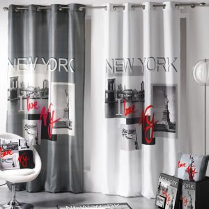 "Rideau 140x260cm """"I love New York"""" Gris - Paris Prix"""