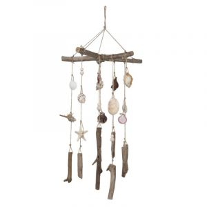 "Carillon Coquillages en Bois ""Chime"" 80cm Naturel - Paris Prix"