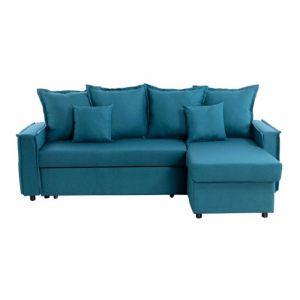 """Canapé d'Angle Convertible """"Coutures"""" 223cm Bleu Pétrole"""