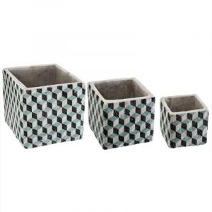 "Lot de 3 Cache-Pots Ciment ""Collect"" 14cm Bleu - Paris Prix"