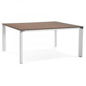 "Table de Bureau ""Loina"" 160cm Noyer & Blanc - Paris Prix"