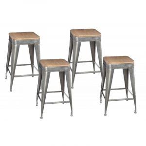 lot de 4 tabouret de bar gris comparer 70 offres. Black Bedroom Furniture Sets. Home Design Ideas
