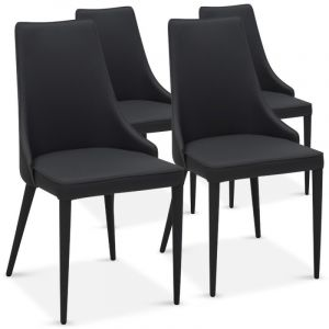 "Lot de 4 Chaises Design """"Ronald"""" 91cm Noir - Paris Prix"""