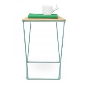 """TemaHome - Table d'Appoint Design """"Opal"""" 41cm Vert d'Eau & Chêne"""