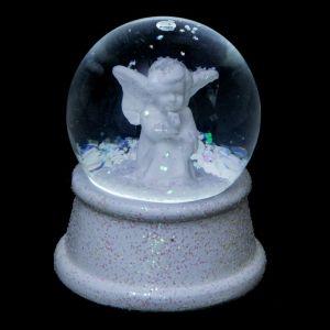 """Boule à Neige Led Lumineuse """"Ange"""" 9cm Blanc - Paris Prix"""