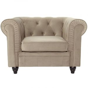 "Fauteuil Design Velours """"Chesterfield"""" 110cm Taupe"""