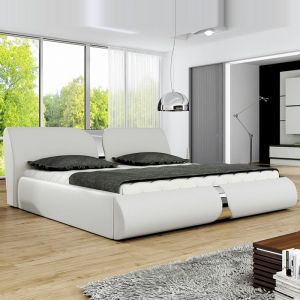 """Lit Adulte Design """"Living"""" 160x200cm Blanc - Paris Prix"""