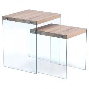 table gigogne verre comparer 93 offres. Black Bedroom Furniture Sets. Home Design Ideas