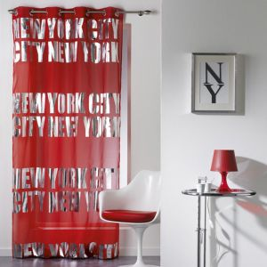 "Rideau Voilage """"New York Silver"""" 140x260cm Rouge"""