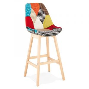 "Tabouret de Bar Patchwork ""Aury"" 114cm Multicolore - Paris Prix"