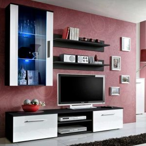 "Meuble TV Mural Design """"Galino V Black"""" Blanc - Paris Prix"""